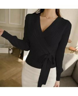 Elegant Pink V Neck Lantern Sleeve Lacing up Wrap Sweater Women 2019 Spring Fall Black OL Cardigan Knitted Jumper Ladies Tops