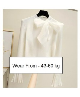 Big Bow Collar Women Sweaters Korean Style Knitted Ladies Pullovers Flare Sleeve Elegant Sweater Tees One Size Belt Bow Tops