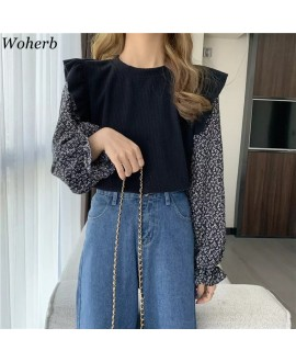 Woherb Floral Patchwork Sweaters Woman Fall 2020 Women Fashion Korean Clothes Sweet Ruffles Knitted Sueter Mujer Jumper