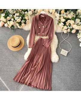SINGRAIN Women Autumn Fashion Elegant Solid Set Double Breasted Short Tops + High Waist Pleated Long Skirt Two Pieces Set 2020