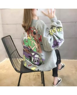 Cute Cartoon Printed Women Hoodies Sweatshirt 2020 Long Sleeve Autumn Pullover Women Casual Loose White Tops Femme Outwear Coat