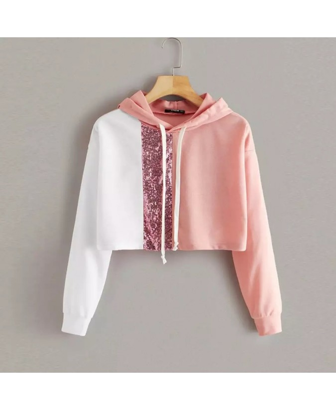 Women Hoodie Long Sleeve Crop Top Harajuku Fashion Sequin Splice Sweatshirt Teen Girls Autumn Short Pullover Hoody Sudaderas