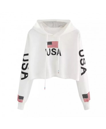 Women Casual American Flag Print Hoodie Sweatshirt Top Blouse poleron mujer  New White Black