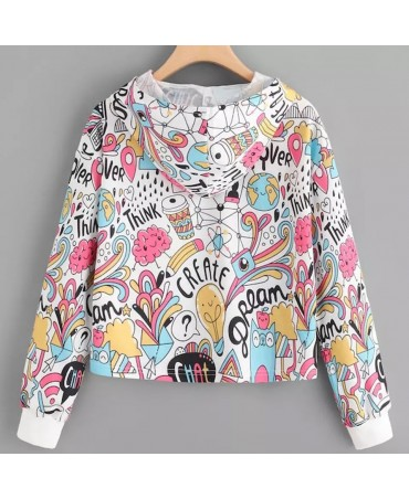 Women Autumn Hoodies Sweatshirt Long Sleeve Graffiti Print Drawstring Hooded Pullover Hoodie Sweatshirt Tops sudadera mujer 2020