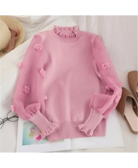 Korean Appliques Flower Jumper Knitted Chiffon Patchwork Women Sweater Fashion Sweet Girl Ruffles Pullover Female