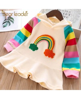 Bear Leader Girls Party Dress Knitted Rainbow Colorful Kids Girl Dresses Sweet Hooded Children Clothing