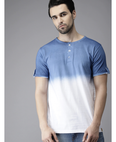 Men Blue & White Ombre- Dyed Henley Neck T-shirt