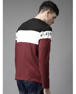 Maroon Colour blocked T-Shirt