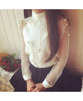 New Summer elegant organza bow of pearl white blouse women casual chiffon shirt long sleeve womens tops and blouses