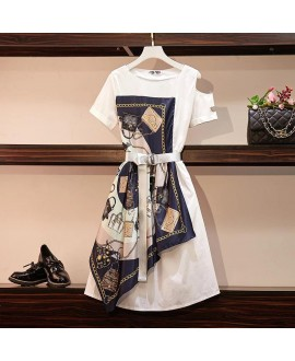Women Summer Fashion Dress High Street Floral Print Patchwork Chiffon Loose Belt Female Runway Casual Dress