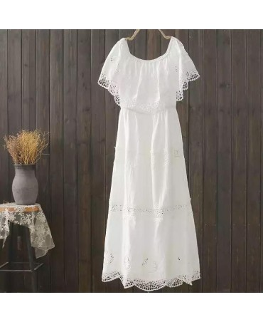 New Cotton Summer Long Mid Calf White Dress