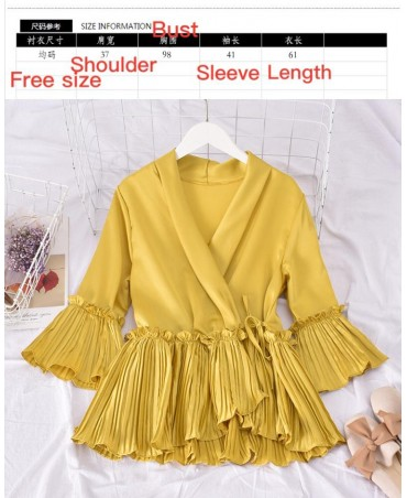 Ladies Casual Flounced Solid Draped Tops