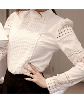 New Women Blouses Slim Bottoming Long-sleeved White Shirt Lace Hook Flower Hollow Casual Shirts Blouse Plus Size 5xl