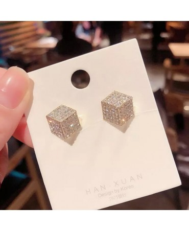 Gold Square Alloy Earrings