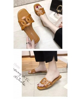 New Style H Sandals Roe Drag A- line WOMEN'S Summer Diamond Shuanghuan Genuine Leather Hollow Pearl Decoration Slides