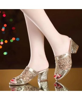 Rhinestone  Women Peep Toe Hollow Out Chunky Heels Party Shoes