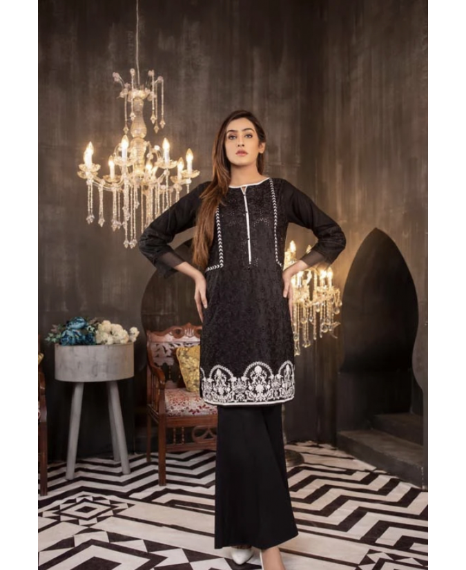 Embroidered Stitched Lawn Kurti